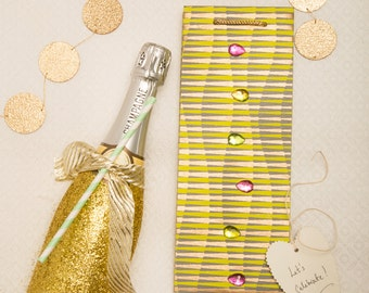 Green and Gold Striped Bottle Bags with Rhinestone Embellishment