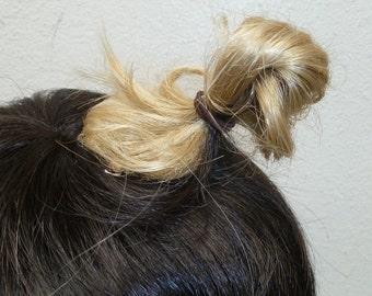 Mini Add-on Manbun Clip-on Mun Man Bun Male Hairpiece Hair Piece Top knot