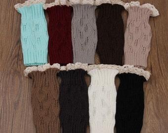 Women's Fashion Crochet Knitted Lace Trim Boot Cuffs  Leg Warmers Socks