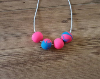 Hand Made Bright Pink & Blue Polymer Clay Necklace