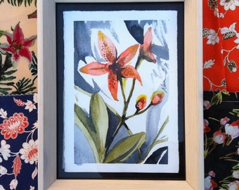 Water color orange lili postcard