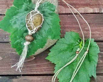 Hemp wrapped BRONZITE stone necklace