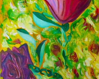"""18"""" x 24"""" Oil Painting Canvas Titled - """"Two Sides to a Rose"""""""