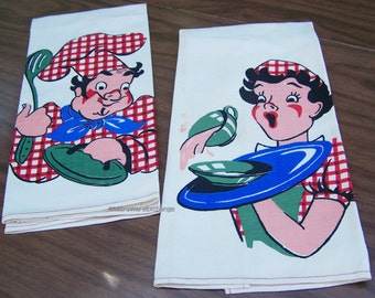 Vintage His & Hers Kitchen Towels – fun, retro design – set of 2