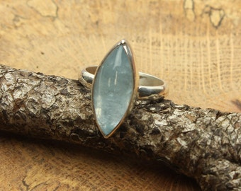 Aquamarine Silver Ring Blue Gemstone in Sterling Silver