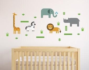 Jungle Wall Decal, Jungle Animal Decal, Safari Animal Decal, Safari Wall Decal, Lion Wall Decal, Lion Decal, Elephant Decal, Giraffe Decal