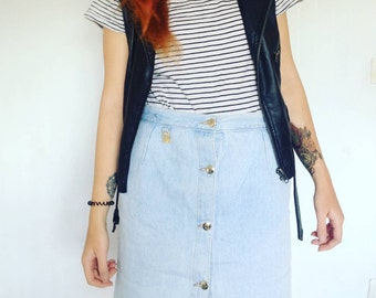 Vintage DENIM  high waist Skirt 90s M size
