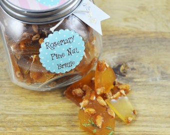 Rosemary Pine nut Brittle - Handmade from Scratch - 8 oz - Gourmet Candy - Half a pound