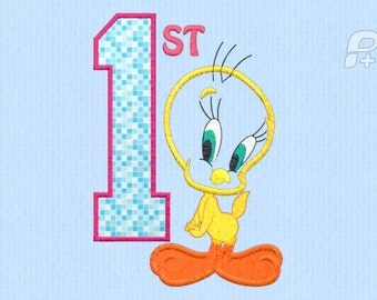 Tweety Bird 1st Birthday Applique