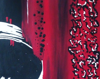 Red, White, and Black Original Abstract Art//Red, White, and Black Painting//Red, White, and Black Canvas Art