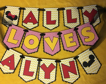 Disney Inspired Mickey and Minnie In Love Personalized Banner - Wonderful for Showers, Weddings, and so much more!