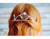 Fifties Silver Bridal Wedding Crown, German Myrtle Leaf Tiara, Vintage Bridal Headpiece, 1950 Tiara and Boutonniere, Groom Pin Corsage