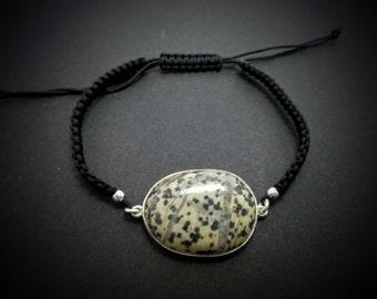 Seastone silver macrame bracelet-handmade