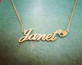14k Gold Name Necklace/ ORDER ANY NAME/Janet style heart birthstone nameplate necklace/Real gold necklace/nameplate necklace/heart pendant