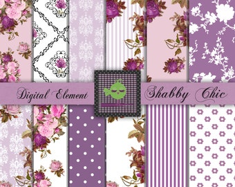Digital Scrapbook Paper, Digital Paper, Lavender and Purple Shabby Chic Digital Paper, Shabby Rose Paper, Lilac Digital Roses. No. P92.DA