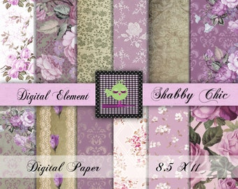 Shabby Lilac Floral Paper, Digital Scrapbook Paper, Shabby Rose  Background Digital Papers, Victorin Rose Backgounds. No. P126.DA