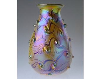 Hand Blown Art Glass. Iridescent Glass Vase