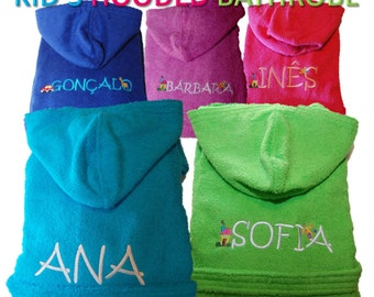 Personalized Kids Hooded Terry Toweling Bathrobe - Various colours
