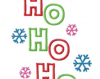Christmas Ho Ho Ho Snowflake Applique Embroidery Design
