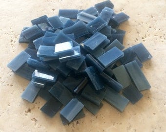 Stained Glass Mosaic Tiles, Blue Glass, 100 pieces,