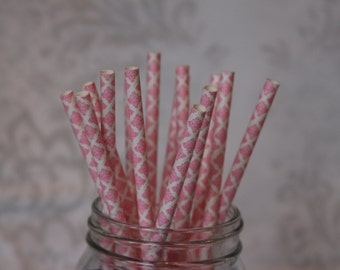Paper Straws/Drinking Straws/Hot Pink Damask Paper Drinking Straws/Pink Damask/Paper Straws/Bridal Shower Straws/Gender Reveal Party