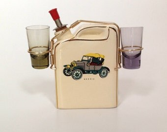 Rare 1950's vintage Morris car novelty drink flask or decanter in the shape of a petrol can
