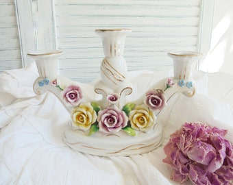 Vintage porcelain chandelier with roses