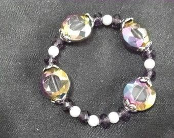Purple czech glass beaded bracelet