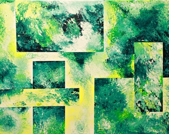 Palette Knife Painting Acrylic Abstract Textured in Green and Yellow