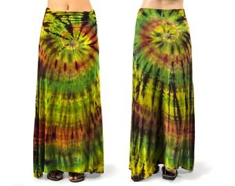 Tie-Dye A-Line Maxi Skirt - Olive Rust Multi - 3355G