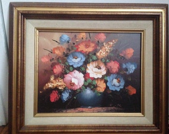 Beautiful R. Cox Original Oil Painting Flowers Blue Vase-Signed