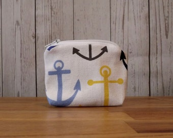 Anchor Print Coin Purse, Pouch
