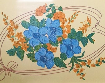 Vintage Aluminum TV Tray - Metal Tray with Blue and Yellow Flowers