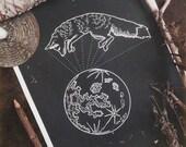 Moon Fox, A3 print