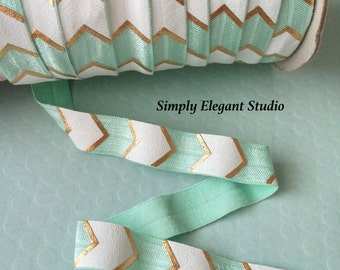"5/8"" Aqua, Gold and White Metallic Arrow Print Fold Over Elastic, Elastic by the Yard, DIY Hair Ties and Headbands Elastic"