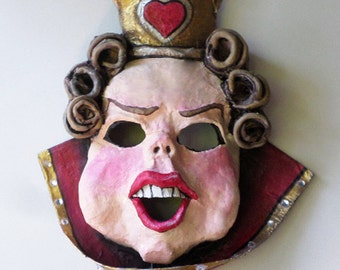 Queen of Hearts Mask, unique mask, Alice in Wonderland, cosplay, playing cards, costume mask