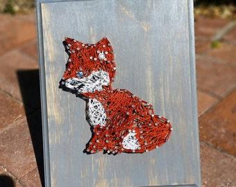 Fox String art woodland nursery decor woodland creatures Wood Signs Wood Wall Art Wood Art Woodland fox Wood Sign Home Decor
