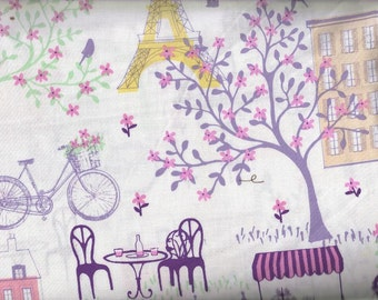 Paris Street Landmark Tower color Pink, Quilt or Craft Fabric, Fabric