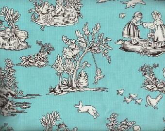 Kid's Toile in Aqua, Quilt or Craft Fabric, Fabric
