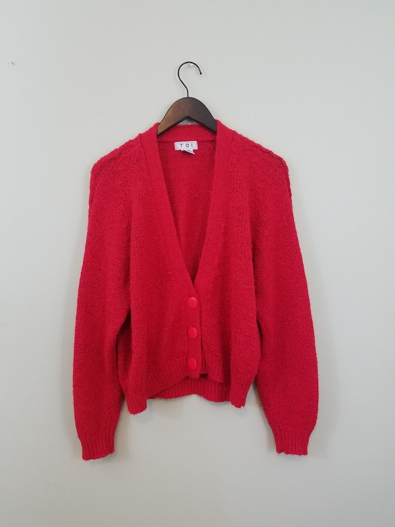 Vintage Cherry Red V-Neck Cardigan / 1980s Three Button Sweater / Oversized, Slouchy Knit / Modern Size Medium M to Large L