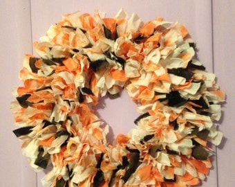 Candy Corn Shabby Wreath (Gypsy-Boho- Hippie - Halloween - Centerpiece-Wall Hanging-Candle Ring)