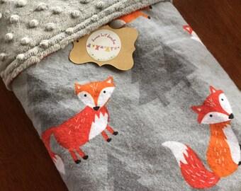 Handmade Baby Blanket Grey with Orange Foxes/Grey Minky Dot