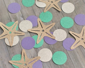 Paper Confetti, Table Confetti, Mermaid Party Decorations, Mermaid Confetti, Under the Sea, Party Decorations, Starfish Decor