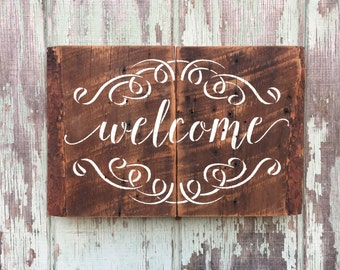 Handmade Welcome Sign Reclaimed Weathered Wood