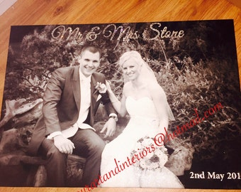 Personalised Wedding Photography Canvas glitter Swarovski WeddingGift Anniversary Romantic WallArt