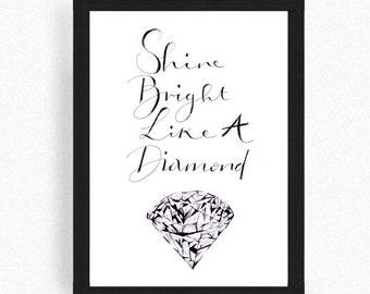 Diamond illustration - motivational - typography