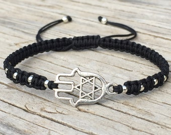 Hamsa Hand Bracelet with Star of David, Adjustable Cord Macrame Friendship Bracelet
