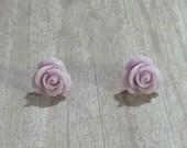 Rose earrings- lavender earrings STUDS - nickel free earrings - hypoallergenic earrings -lavender rosette earrings