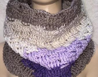 Small Brown Cowl, Basketweave Cowl, Brown Scarf, Crochet Cowl Scarf, Crochet Cowl, Crocheted Scarf, Neckwarmer Scarf