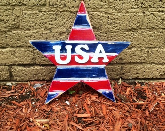 Patriotic Star / Wooden Decor / Wooden Door Decor / 4th of July / Independence Day Decor / Holiday Door Decor
